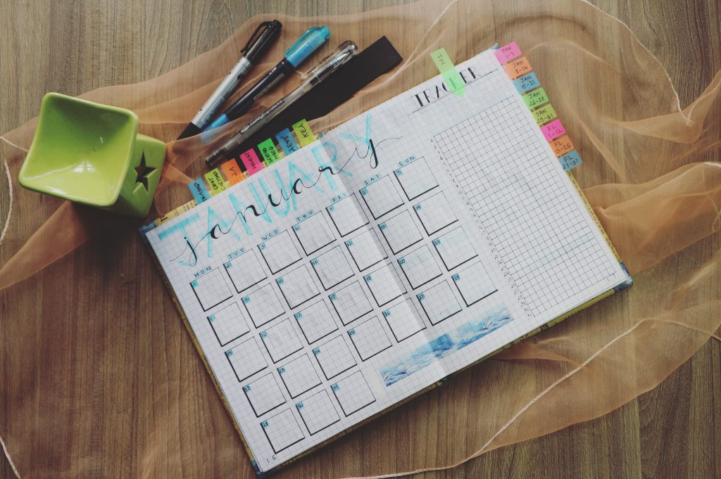 Homeschooled middle school children can choose planners and pens to schedule their days.