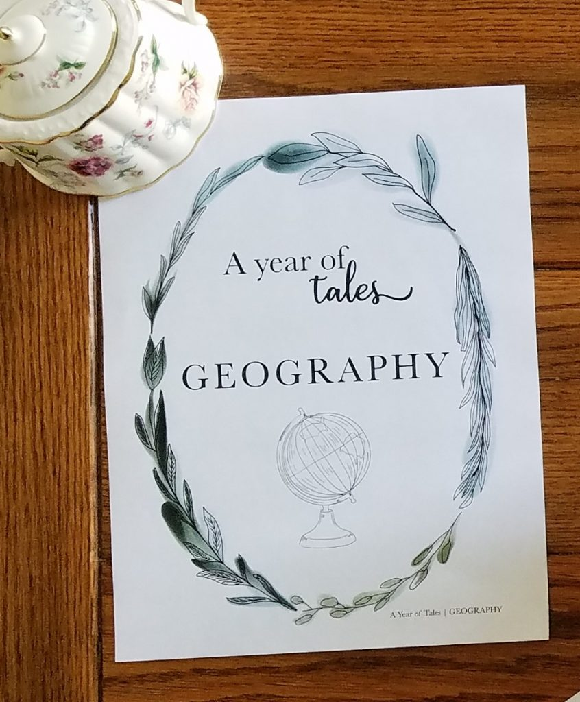 A great homeschool geography curriculum is A Year of Tales Geography by Lisa Wilkinson.
