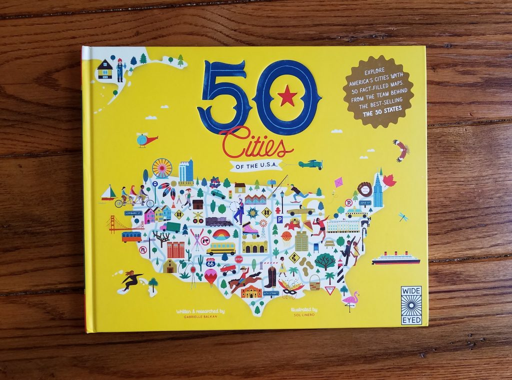 Homeschoolers can learn American geography from reading Fifty Citities of the U.S.A.