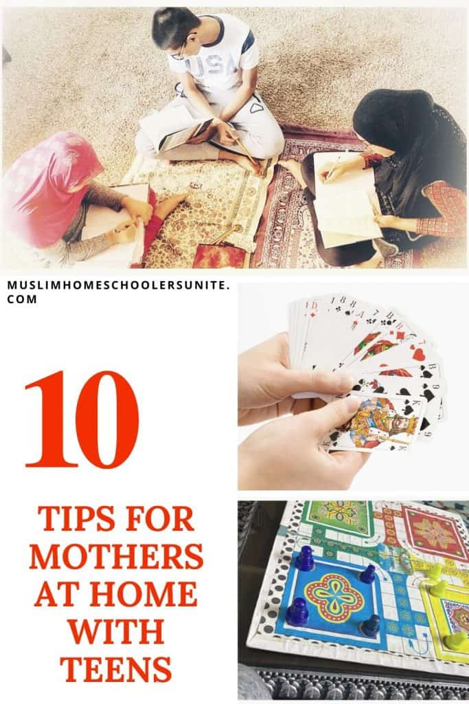 Ten tips for mothers at home with teens.
