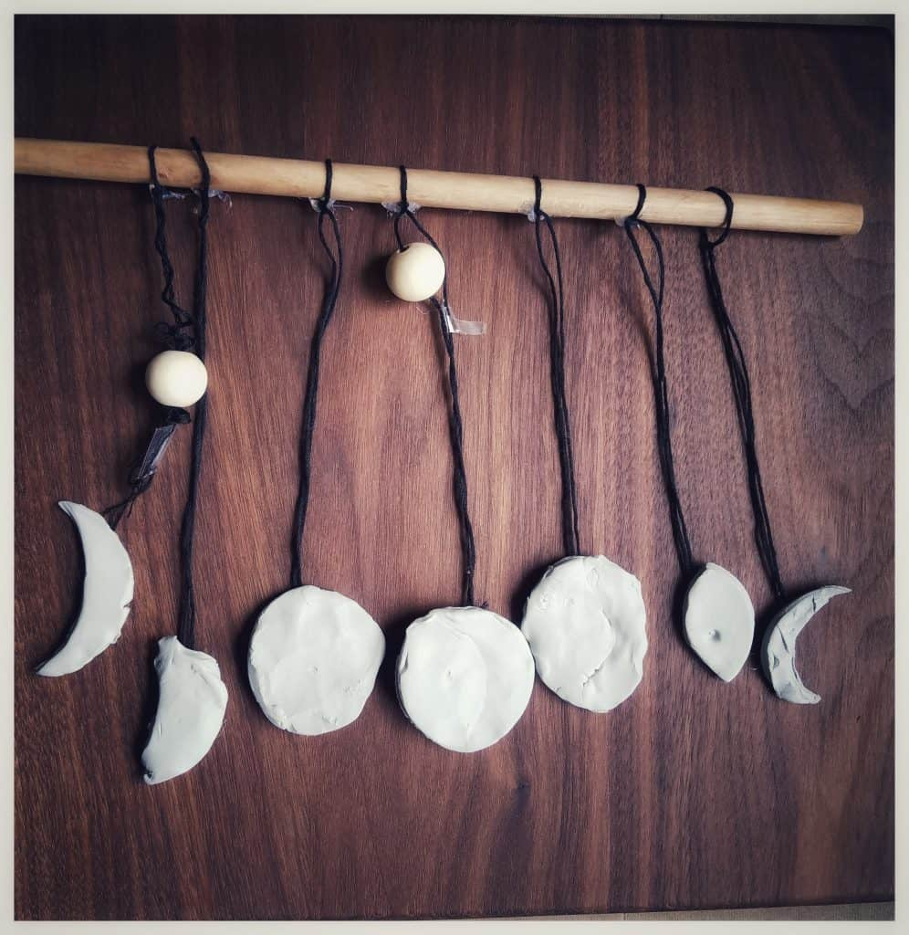 DIY moon phase wall hangings are perfect for Ramadan moon activities for Muslim kids.