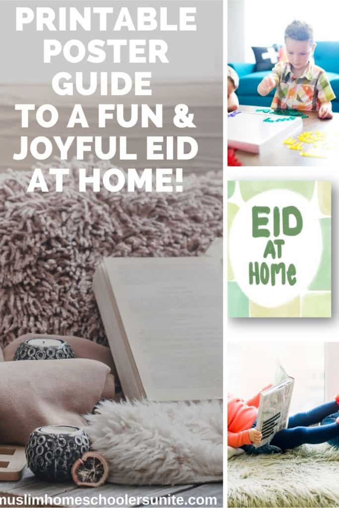 Printable poster guide to a fun and joyful Eid-ul-fitr 2020 at home, due to quarantine.