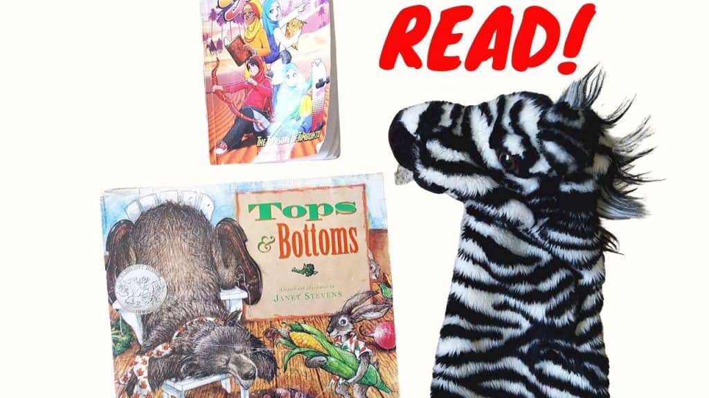 Join Ziggy for a read aloud with Tops and Bottoms and Jannah Jewels.