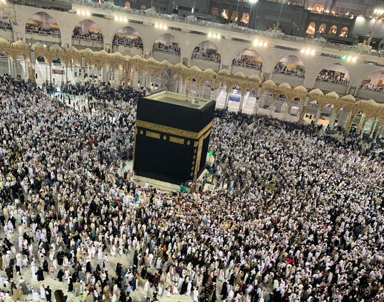 Talk to your kids about Hajj and the Hujjaj moving around the Kabah.