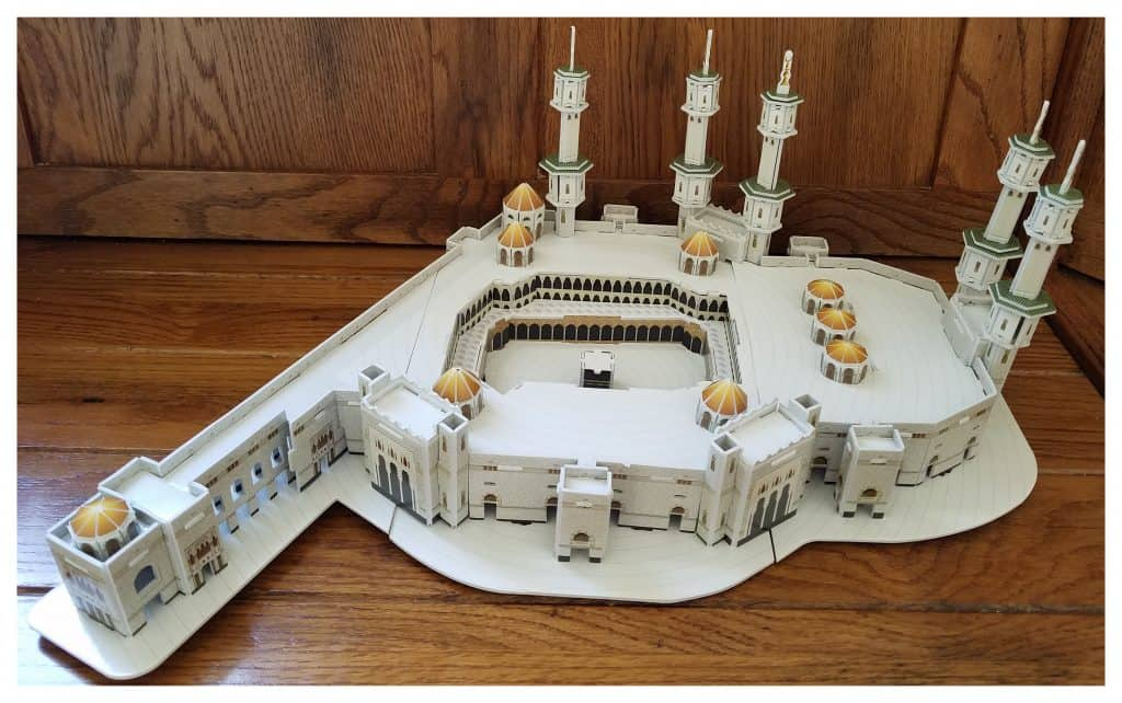 Muslim children can learn about Hajj through building a 3d puzzle about the Haramain.