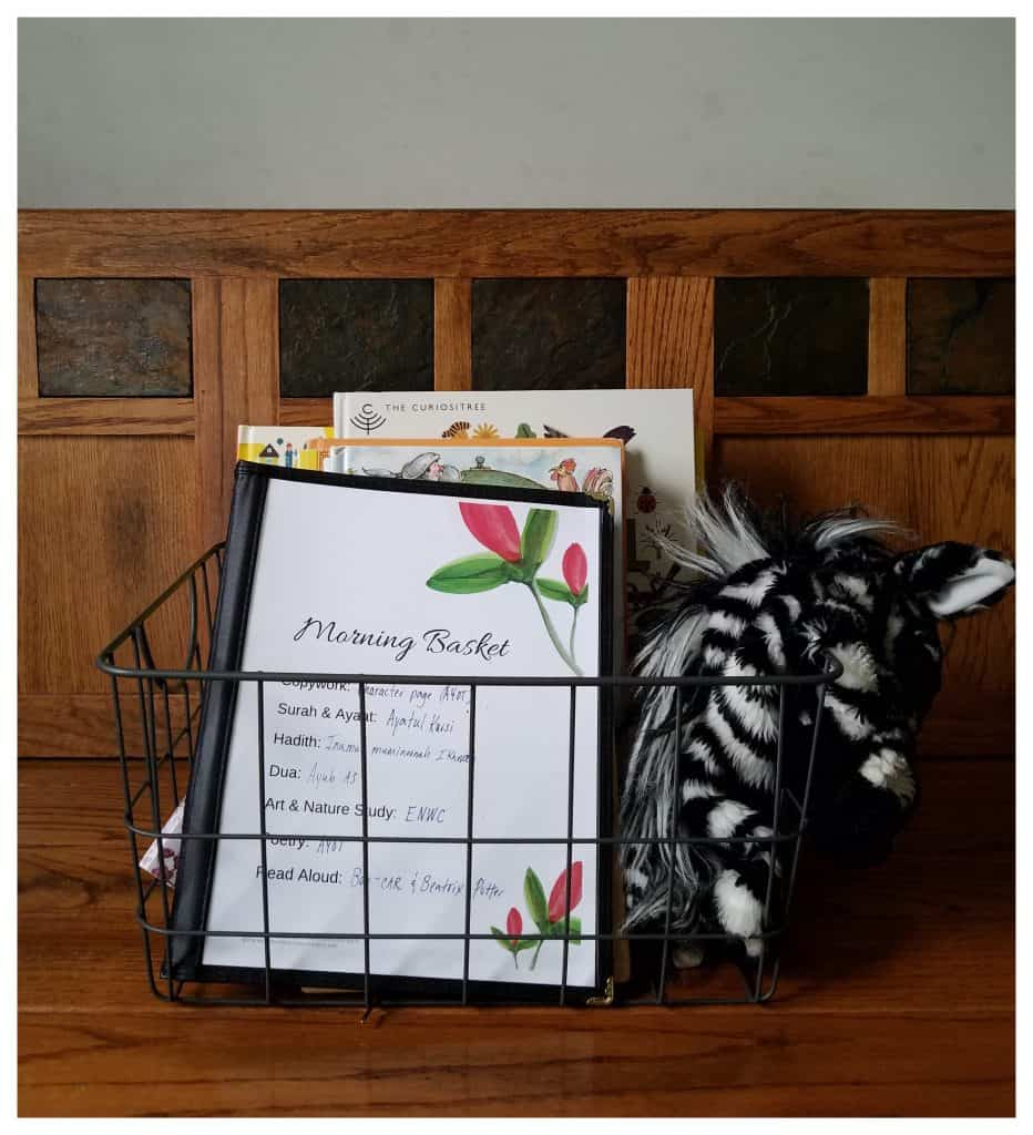 Muslim Morning Baskets are the perfect way to connect with your homeschooled children on a daily basisl.