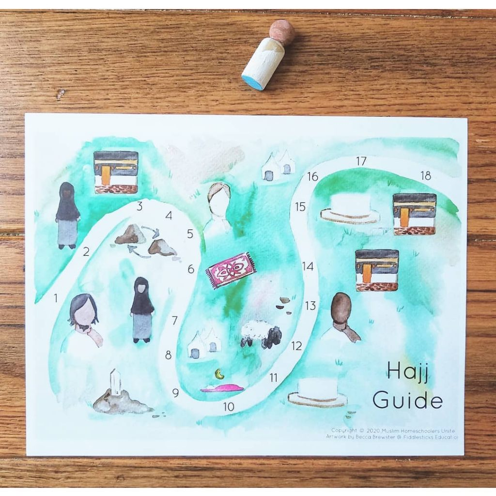 A free watercolor Hajj Guide for Muslim homeschooling families that would like to conduct Hajj activities with their kids.