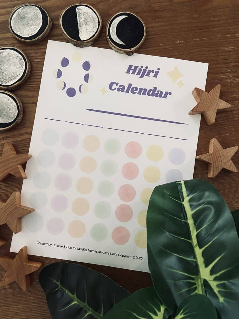 This is a beautifully hand painted Hijri Calendar by Lauren from Chickie and Roo.