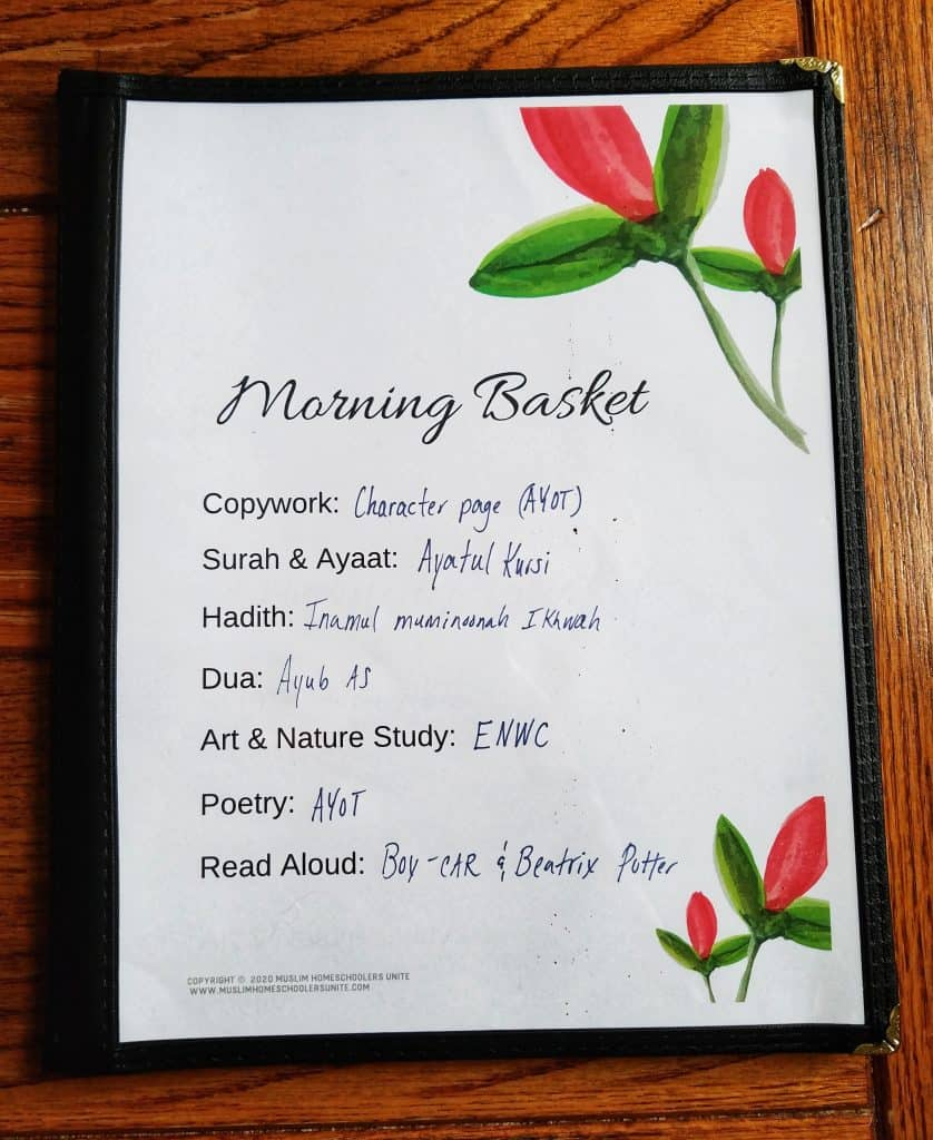 Morning Menus are the perfect way for Muslim homeschooling mothers to stay organized during their Morning basket time.