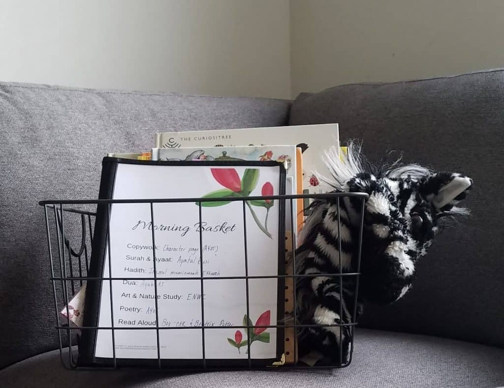 A morning basket is the perfect way for Muslim homeschooling families to start their year!