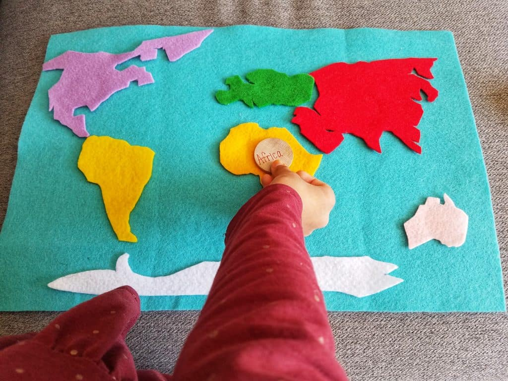 A felted map is a great addition to your Muslim homeschool for the subject of geography and handicrafts.