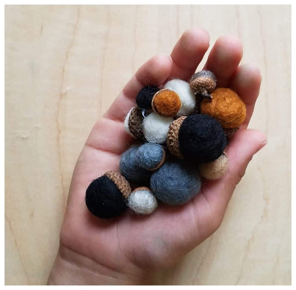 Wet felting acorns are the perfect autumn handicraft for your Muslim homeschool.