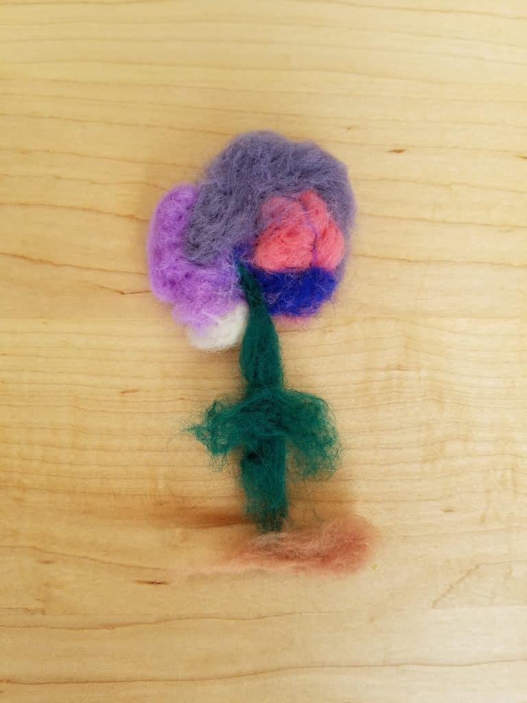 Needle felting flowers is a great handicraft for your Muslim homeschool.