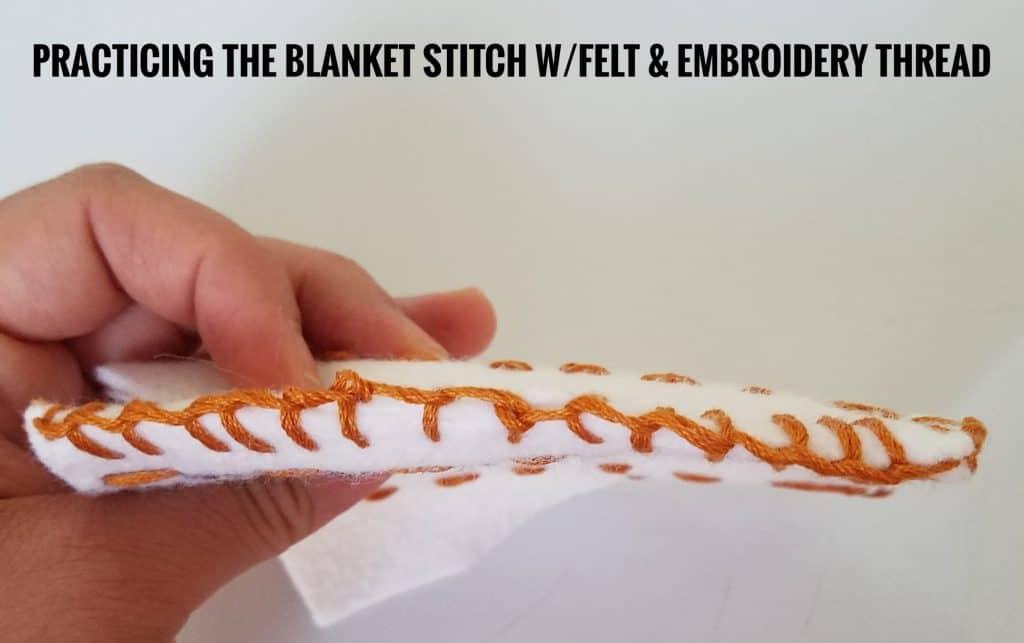 Muslim homeschooled children can practice the blanket stitch on felt.