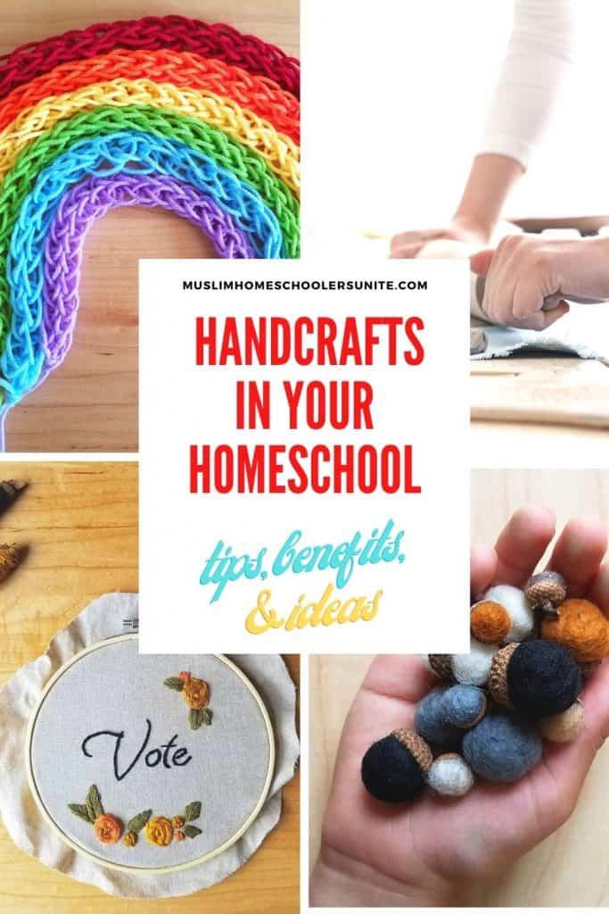 Benefits to introducing handicrafts in your homeschool, plus 36 handicraft ideas!