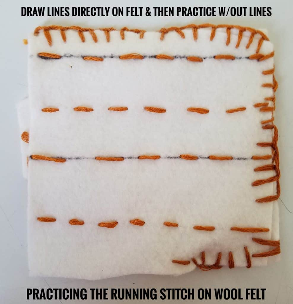 Muslim homeschooled children can practice the running stitch on wool felt.