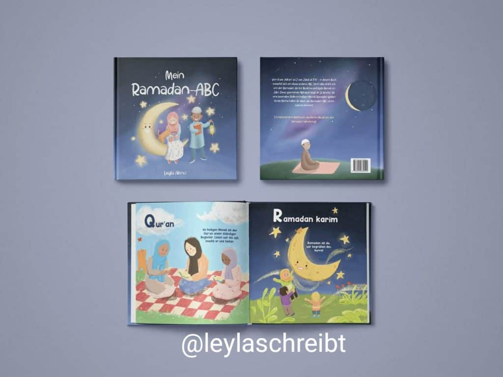 My Ramadan ABCs by Leyla Akinci is a colorfully illustrated German book where each letter represents a world we relate to Ramadan. In addition, there is a rhyme to help the child understand and learn the word better.
