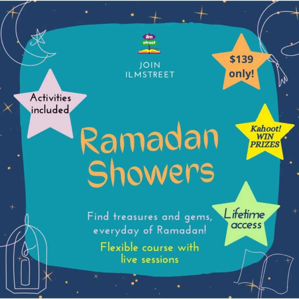 Ramadan Showers is a lifetime access course, created to help your Muslim family journey through the Quran while connecting with other Muslim children!