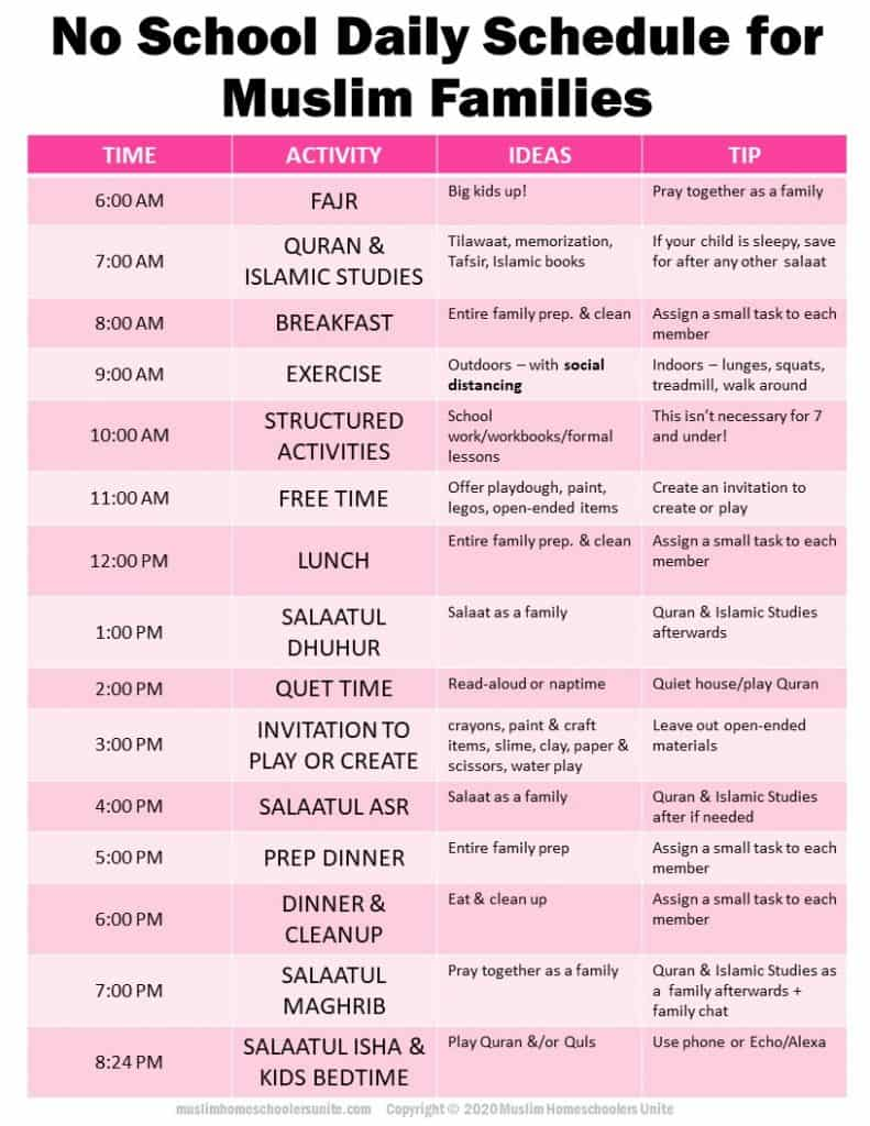 Muslims that need structure for their kids day, can use Muslim Homeschoolers Unite No School Daily Schedule for Muslim Families.